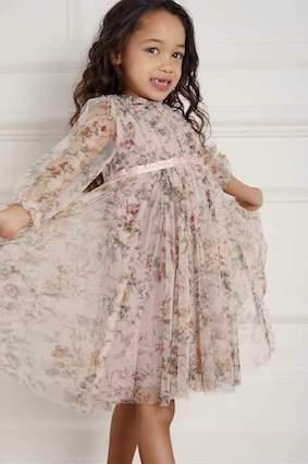 Needle & Thread Garland Flora Kids Girls Dress Blush Multi