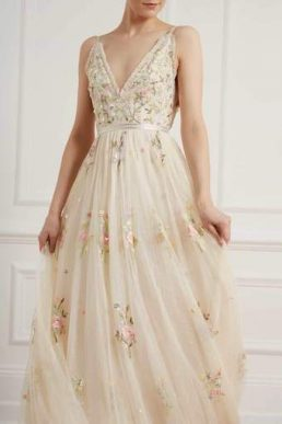 Needle & Thread Petunia Floral Embroidered Maxi Gown Champagne