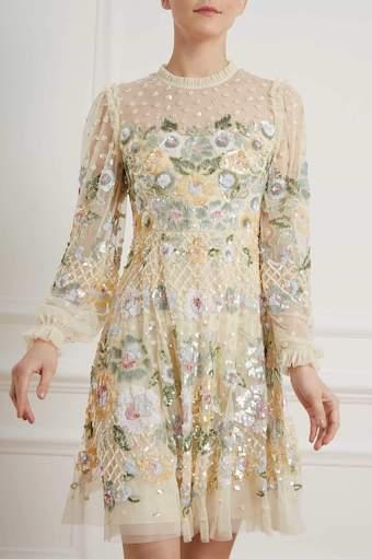 Needle & Thread Rosalie Embellished Dress Cream Multi