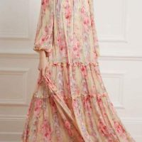 Needle & Thread Ruby Bloom Long Sleeve Maxi Gown Pink Multi