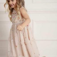 Needle & Thread Shimmer Ditsy Kids Dress Pink Blush