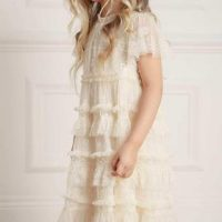 Needle & Thread Wallflower Long Sleeve Kids Dress Champagne