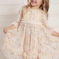 Needle & Thread Wallflower Long Sleeve Kids Dress Neutral Meadow Pink