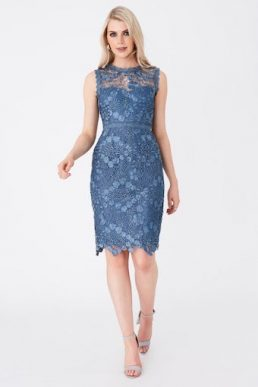 Paper Dolls Copeland Prussian Lace Pencil Dress Blue