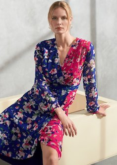 Phase Eight Claudette Patched Floral Dress Pink Blue Multi