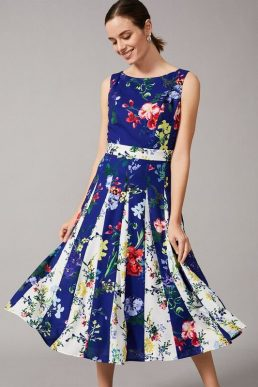 Phase Eight Trudy Patched Floral Dress Cobalt Blue Multi