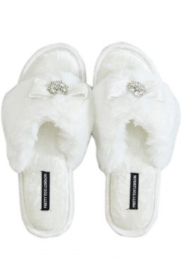 Pretty You London Amelie Toe Post Slippers Cream