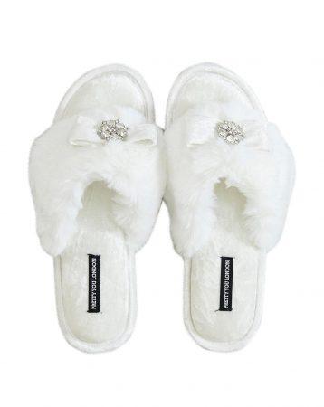 Pretty You London Amelie Toe Post Slippers Cream