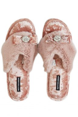 Pretty You London Amelie Toe Post Slippers Pink
