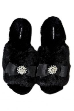 Pretty You London Anya Slider Slippers Black