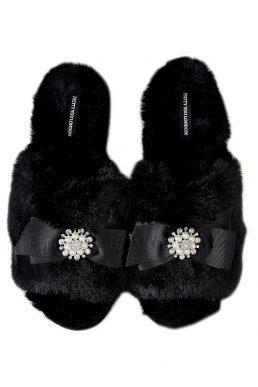 Pretty You London Anya Slider Slippers Black