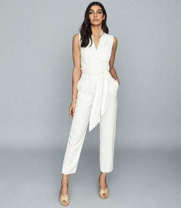 Reiss Romy Wrap Tie Tailored Jumpsuit White