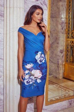 Sistaglam Deanna Teal Floral Bodycon Dress Blue Multi
