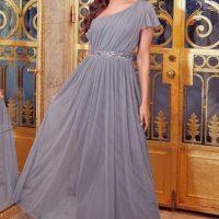 Sistaglam Mariah One Shoulder Sequin Belt Maxi Dress Grey