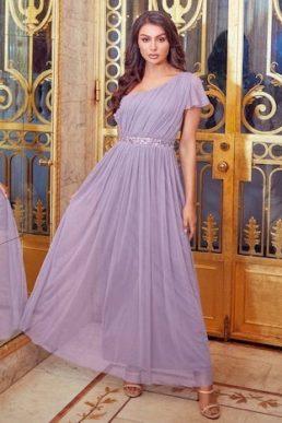 Sistaglam Mariah One Shoulder Sequin Belt Maxi Dress Lilac