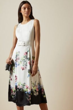 Ted Baker CAMYLLE Pergola midi floral belted dress Ivory Multi