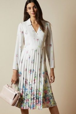 Ted Baker ELLIAN Pergola long sleeved floral midi dress Ivory Multi