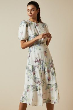 Ted Baker GROVE Pergola puff sleeved midi dress Ivory Multi