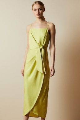 Ted Baker LAANI Knot detail drape dress Lime Green