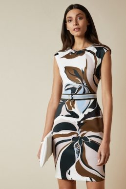 Ted Baker LIZIIEY Masquerade printed bodycon dress Ivory Navy Multi