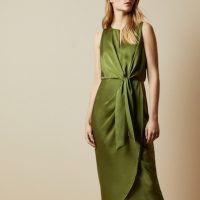 Ted Baker POHSHAN Keyhole detail midi dress Khaki Green
