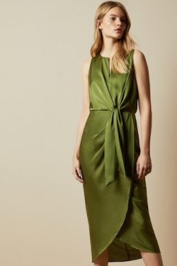 Ted Baker POHSHAN Keyhole detail midi dress Khaki Green