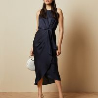 Ted Baker POHSHAN Keyhole detail midi dress Navy Blue