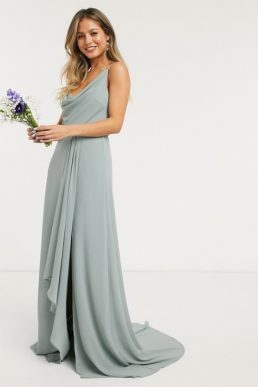 TFNC bridesmaid cowl neck cami strap maxi dress with train in sage green