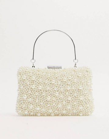 True Decadence pearl embellished bag with metal grab handle Cream Ivory
