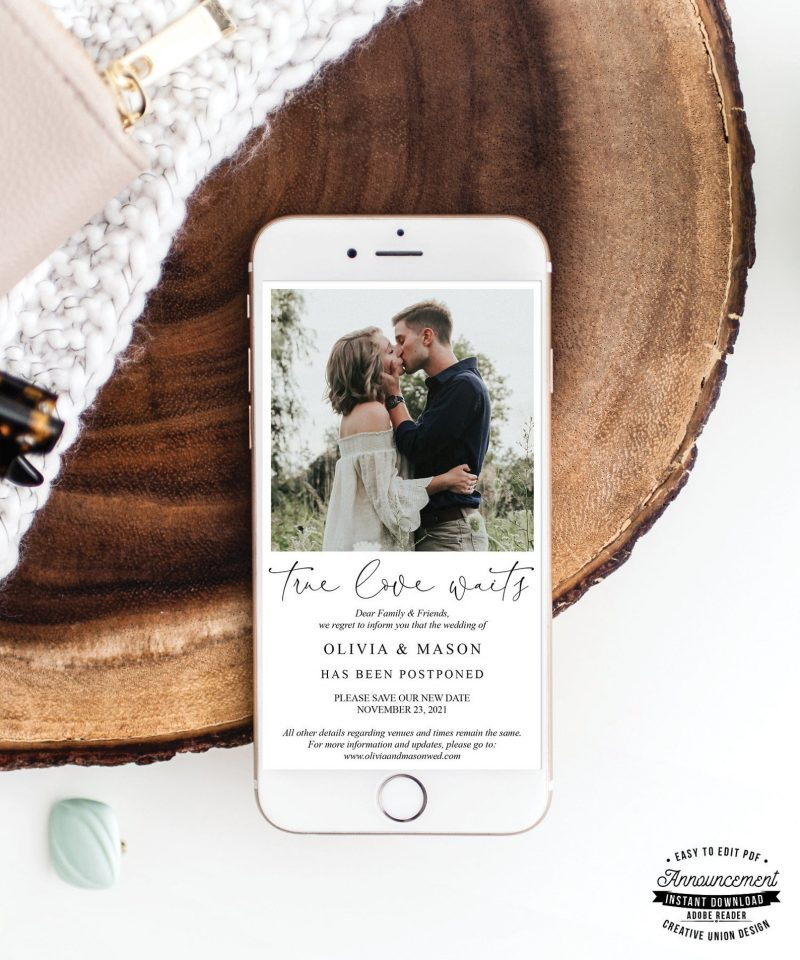 Wedding Postponed Announcement - Change The Date - ReSave The Date - Change of Plans - Text - Template - True Love Waits - Minimal £6.13