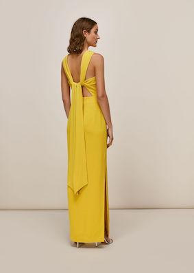 Whistles Tie Back Bridesmaid Maxi Dress Yellow