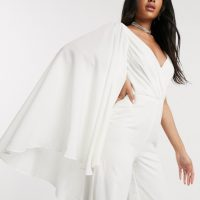 Yaura asymmetric bridal caped plunge jumpsuit in ivory