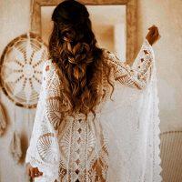 Bibi Luxe Lace kaftan, brides lace kimono robe, beach cover up, boho wedding dress