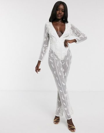 Dolly & Delicious all over embellished sheer leg jumpsuit in white