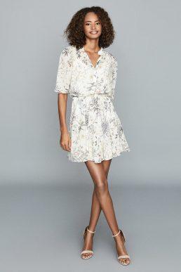 Reiss Naomi Floral Flippy Mini Dress Cream Multi