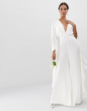 ASOS EDITION cape sleeve wedding jumpsuit in satin Ivory