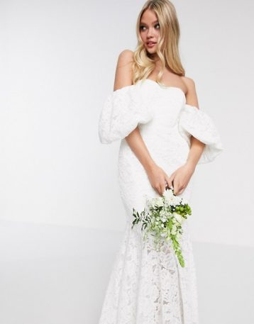 ASOS EDITION Chelsea off shoulder lace wedding dress White