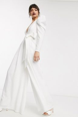 ASOS EDITION plunge wide leg jumpsuit with open back White