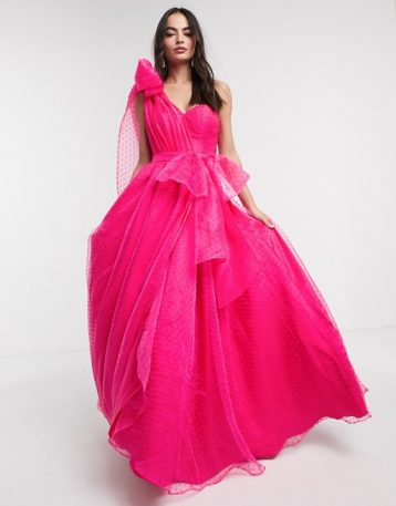 Bariano full prom one shoulder maxi dress with detachable waist bow detail in fuchsia pink