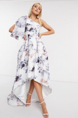 Bariano one shoulder dress with bow detail in blue floral White Blue
