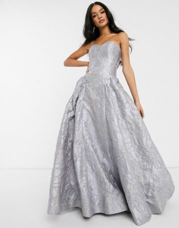 Bariano sweetheart neck prom dress in frosty grey