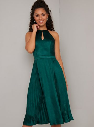 Chi Chi Dyer Pleated Dress Green