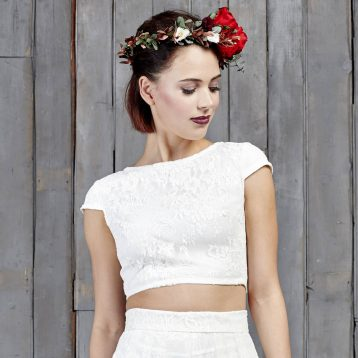 Drakeford Lace Bridal Capped Sleeved Top Ivory