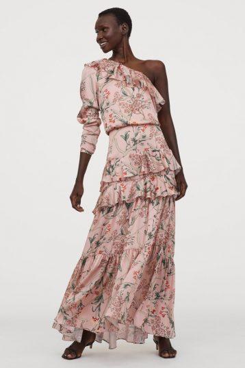 H&M One-shoulder floral satin tiered maxi dress Pink Multi