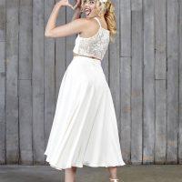 House Of Ollichon Thomas Bridal Midi Skirt Ivory