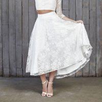Le Fay Lace Bridal Midi Skirt Ivory