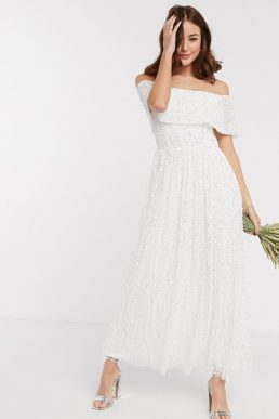 Maya Bridesmaid off shoulder overlay midaxi dress in white