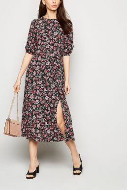 New Look Black Floral Tie Waist Midi Dress Pink Multi