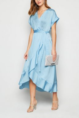 New Look Pale Blue Satin Ruffle Trim Midi Wrap Dress