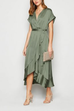 New Look Pale Khaki Green Satin Ruffle Trim Midi Wrap Dress